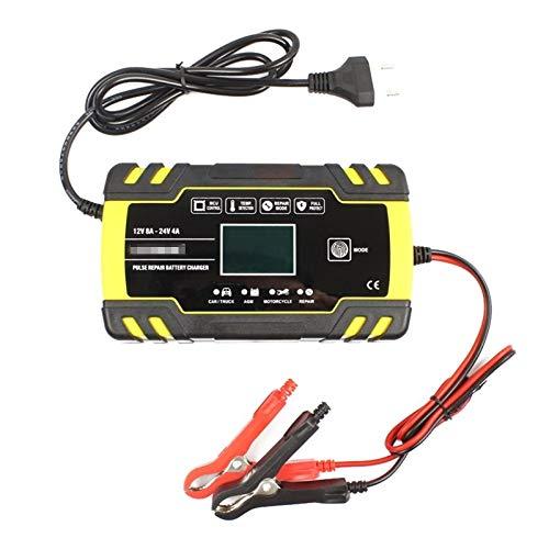 Cargador Baterias Coches Cargador De Reparación De Pulsos De 12V 24V con Pantalla LCD Gel Gel De Plomo Húmedo Cargador De Batería para Coches Motos Barco (Color : Yellow, Size : EU)
