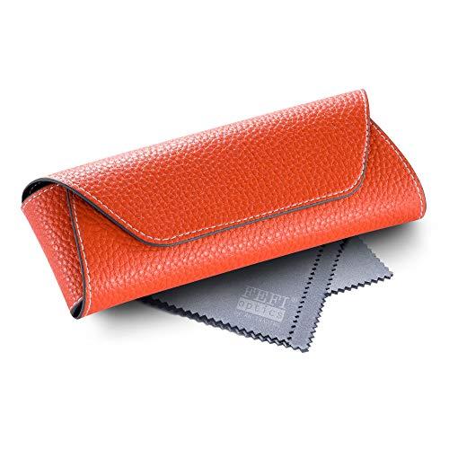 FEFI - Halbhartes Brillenetui im Leder-Look - inklusive hochwertigem Brillenputztuch/Microfasertuch (Orange)