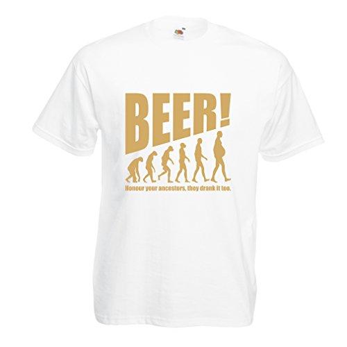 Männer T-Shirt Die Beervolution - einzigartige lustige sarkastische Geschenkideen für Bierliebhaber, trinkende Evolution (XX-Large Weiß Gold)