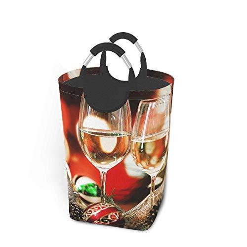 N\A Cesto de lavandería para Vino Festivo Cubo de Lavado Cesto de Ropa Plegable con asa Almacenamiento de Ropa Sucia 50 litros