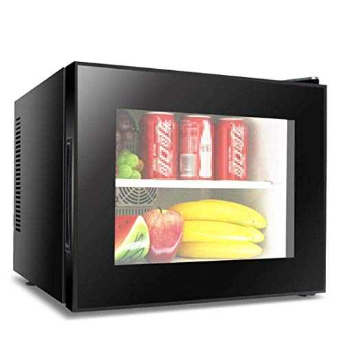20L Mini Fridge Cooler and Warmer, 8~15°C, Double-Layer Visible Glass, Electric Small Refrigerator, Portable Refrigerator, Bedroom, Office, Beverage, Cosmetic Milk