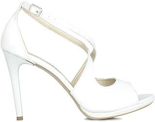 Loggalin 520335 468 Kadın Beyaz Rugan Topuklu Platform Ayakkabı