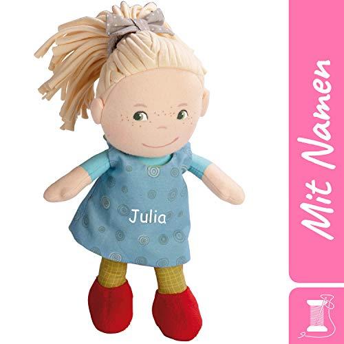 HABA Stoffpuppe Mirle mit Namen Bestickt, weiche Erste Baby Puppe, 0-5 Jahre Kuschelpuppe Taufgeschenk 5738