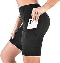 VBIGER High Waist Yoga Shorts - Workout Biker Compression Yoga Legging Tummy Control Running Athletic Shorts 3 Pockets Black