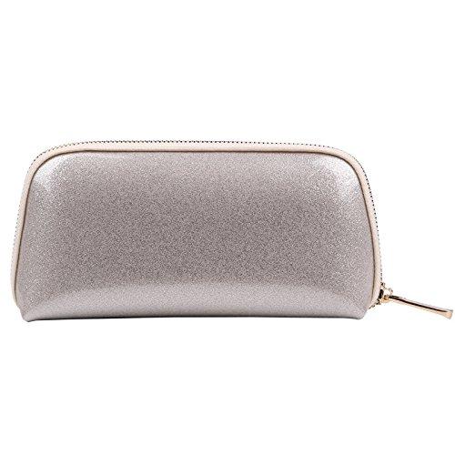 Voyage sac de rangement sac de lavage sac cosmétique femme main pvc shell sac cosmétique 22 * 5 * 11 CM argent clair