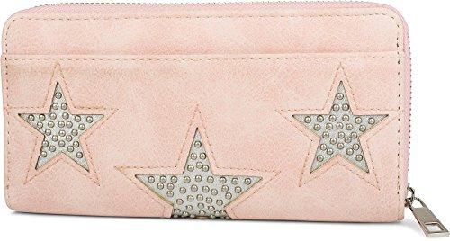 styleBREAKER Geldbörse mit Nieten besetztem Stern Cutout, Vintage Design, Reißverschluss, Portemonnaie, Damen 02040078, Farbe:Rose