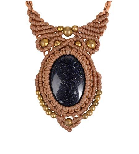CCcollections Handgemachte Makramee Halskette Wachsschnur mit Messingperlen und Stein (BrownW SilBlSS)