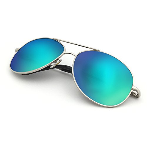 J+S Premium Military Style Classic Aviator Sunglasses, Polarized, 100% UV protection (Medium Frame - Silver Frame/Green Mirror Lens)