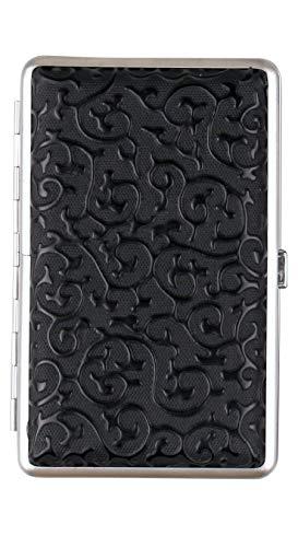 Zigarettenetui Black Lady 1 schwarz für 100 mm Zigaretten (Kingsize) und Slim Lederoptik mit Gummiband