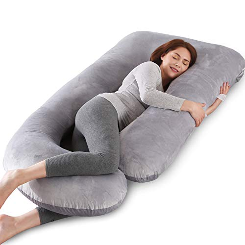 Aidiu u Shaped Pillows Pregnant Body Pillows for Sleeping, Pregnancy Pillows U Shape, Maternity Pillow, Full Body Maternity Pillow,57in, Support Back,Neck,Leg,Foot,Side Sleeper, Washable Cover, Grey