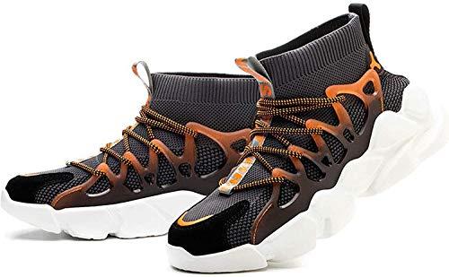 LBHH Zapatos de Trabajo,Botas de Seguridad Calcetines sin Calcetines Zapatos de Seguridad para el Sitio Zapatillas de Deporte con Puntera de Acero Ligera y Transpirable de Ajuste Ancho