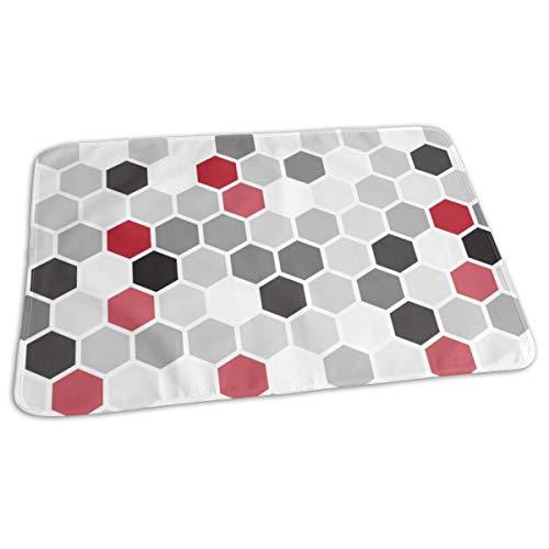 Rood Zwart Wit Geometrische Zeshoek Zeshoek Retro Tegel Grijs stippen Miss Chiff Ontwerpen Bed Pad Wasbaar Waterdichte Urine Pads voor Baby Peuter Kinderen en Volwassenen 27.5 x19.7 inch