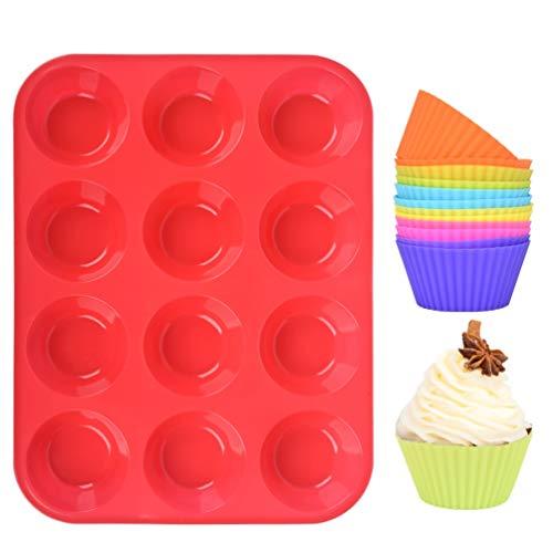 Muffinform Silikon,Muffin Backblech Silikonform,12er Backförmchen Antihafteigenschaft Muffinblech mit 12 Stück Wiederverwendbare Muffinförmchen fuer Cupcakes,Pudding,Kuchen,Rot Mini Muffins Backblech