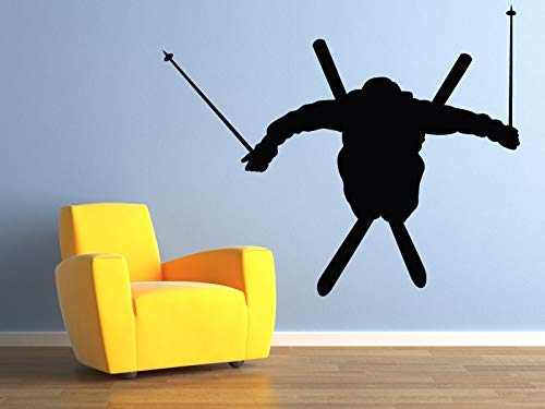 Tianpengyuanshuai Black Wall Decoratie Airborne Skier Vinyl Wall Sticker Sport Boy Bedroom House Decoratie afneembaar 66 x 56 cm