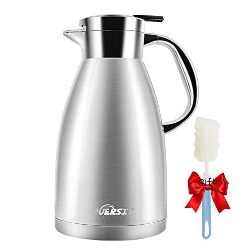 puersit Thermoskanne 1.8L 304 Edelstahl Doppelwand Vakuum Isolierkanne Topf Kaffeekanne Thermos, Kaffee Plunger, Saft/Milch/Tee Isolierung Topf