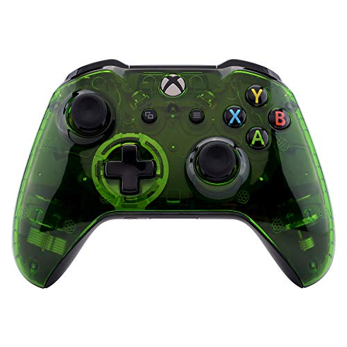 eXtremeRate Transparent Crystal Clear Green Faceplate Cover for Xbox One Wireless Controller (Model 1708), Custom Case Front Housing Shell for Xbox One S X Controller - Controller NOT Included