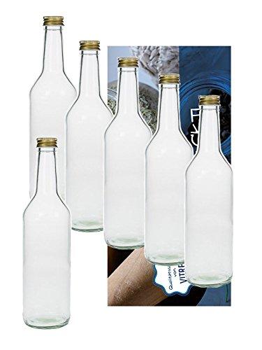 24 lege glazen flessen 1000 ml 1 liter recht met schroefdop goud om zelf te vullen incl. een witte vultrechter Vitrea R