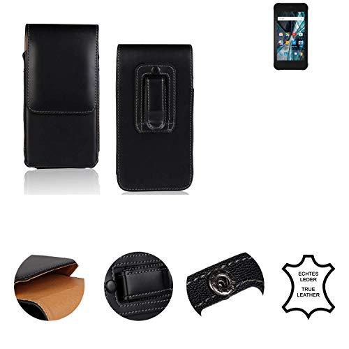 K-S-Trade® Holster Gürtel Tasche Für Archos Sense 47X Handy Hülle Leder Schwarz, 1x