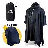 IVEUM * WINTERANGEBOT * 3 in 1 Regenponcho inkl. Tasche und Rucksackschutz geschenkt – extra lang – Regenschutz für Männer und Frauen – Regencape für's Wandern und für den Alltag (L)