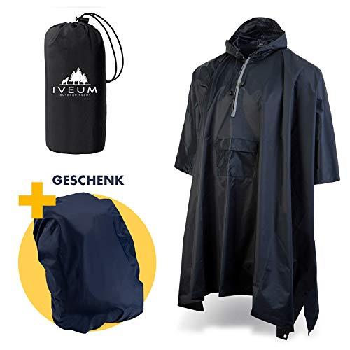 IVEUM 3 in 1 Regenponcho inkl. Tasche und Rucksackschutz geschenkt – extra lang – Regenschutz für Männer und Frauen – Regencape für's Wandern und für den Alltag (M)