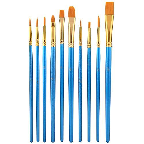 Juego de brochas de pintura, 10 piezas de nailon, juego de brochas para el aceite de acrílico, acuarela, artista, kits de pintura profesional