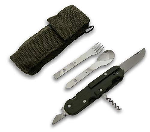 KS-11 Survival Militärbesteck mit Gabel Löffel Messer Korkenzieher Dosenöffner Falschenöffner und BW Etui, olivgrün