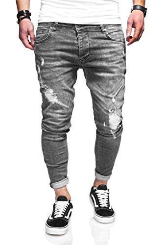 behype. Herren Destroyed Jeans-Hose 80-3496 (29/32, Grau)