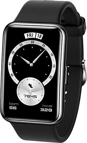 HUAWEI WATCH FIT Elegant Smartwatch, 1,64 Zoll AMOLED-Display, Persönlicher Coach, 10 Tage Akkulaufzeit, GPS, 5ATM, Herzfrequenzmessung - Exklusiv auf Amazon: 30 Monate Herstellergarantie -, Schwarz