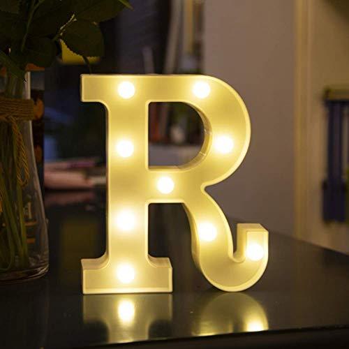 Luces LED blancas con letras de marquesina - 26 letras lámparas iluminadas para fiesta nocturna, boda, cumpleaños, decoración de bar en casa