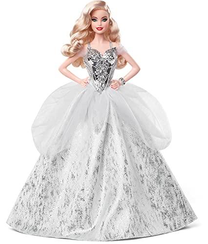 Barbie- Magia delle Feste 2021, Bambola Barbie con Capelli Biondi e Ondulati, Vestito Argentato, da Collezione, Giocattolo per Bambini 6+Anni, GXL18