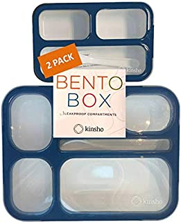Kids Bento Lunch-Box and Snack Container Set   Leak-proof Lunch-Boxes + Containers for Snacks   Boys Teens Adults   BPA Free   Accessories   2-Pack Navy Blue Large + Small