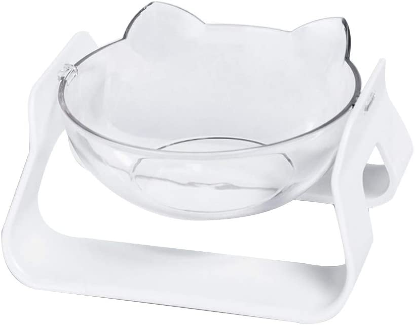 Raised Cat Food Bowl Multi Angle Bow Single Pet Tilted Elevated Fashionable Mail order cheap
