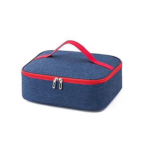 MJJCY Pequeño rectángulo Pequeño Almuerzo Bolsa Portátil Bolsa Portátil Enfriador Simple Comida Térmica Aislada Espesa Bolsas para Mujeres Hombres Niños (Color : Navy Blue)