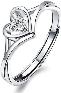 Splendente Fashion Ring Imitation Jewelry Artificial Diamond- with Fashion Heart Shape Adjustable Ring for Men Women Boys ...