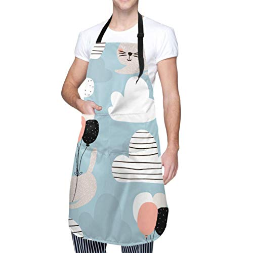 Delantal impermeable con bolsillos, patrón infantil, gatos lindos que vuelan, delantal de seguridad ajustable, delantal de chef, delantal de cocina, delantal de cocina para hombres y mujeres, delant