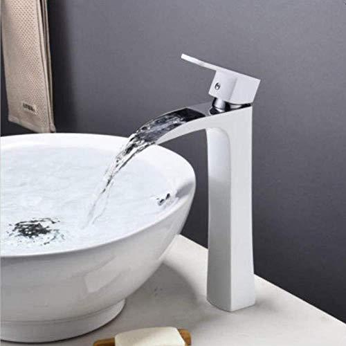 Grifos de lavabo Cascada Lavabo, Monoblock Grifo Cromo Blanco lacado del grifo del lavabo, grifo de la Cuenca Alta, sobre el lavabo contrario, debajo de la barandilla del grifo del lavabo