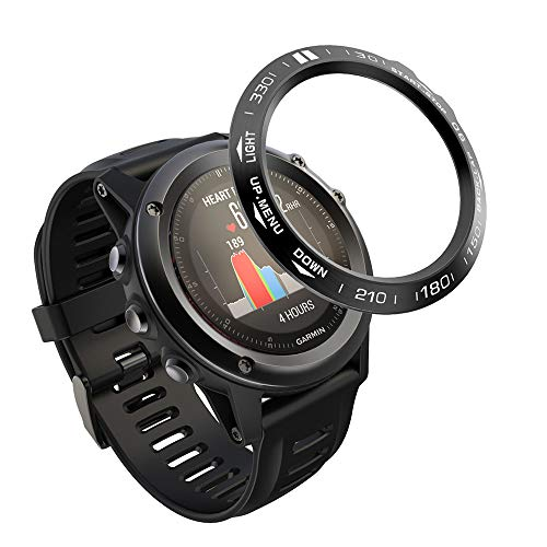 AISPORTS Anillo de bisel compatible para Garmin Fenix 3/Fenix 3 HR Bezel Loop Cover adhesivo anti arañazos acero inoxidable bisel estilo marco círculo funda protectora para Garmin Fenix 3/Fenix 3 HR