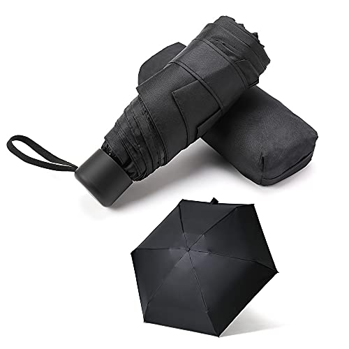 GAOYAING Mini Travel Umbrella Sun&Rain Lightweight Small and Compact Suit for Pocket Parasol with 99% UV Protection for Women Men Kids Black