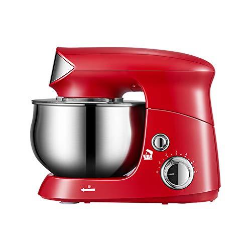 HJKL Batidora de pie, 600W batidora, 6 Velocidad Cocina Batidora con el batidor, Gancho de la Pasta, Batidor de Acero Inoxidable, 3.5L del Recipiente de Mezcla y el Protector de Salpicaduras,Rojo