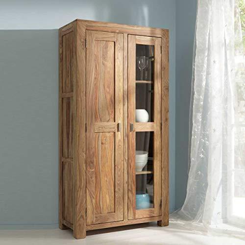 Vitrine Yoga 6597-V Vitrinenschrank Wohnzimmer Sheesham Holz massiv von Wolf Möbel