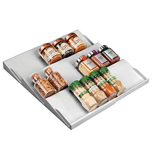mDesign Especiero para cajones de 20 a 36,8 cm – Organizador de especias extensible hasta los 36,8 cm – Organizador de cajones con tres niveles – gris