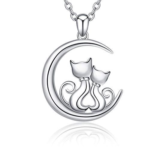 Collier de Chat en Argent Sterling 925 Doubles Chats Pendentif Bijoux pour Femme Fille Cadeau de...