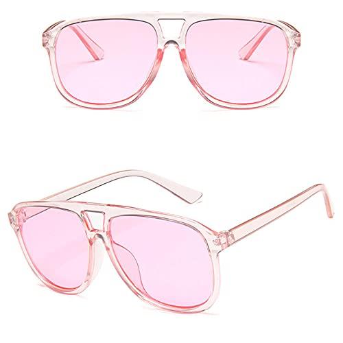 WQZYY&ASDCD Gafas de Sol Clear Sungalsses Hombres Mujeres Sandbeach Driving Retro Gafas Candy Lens Eyewear Ladies Vintage Anti-UV Square Sun Glasses-Pink