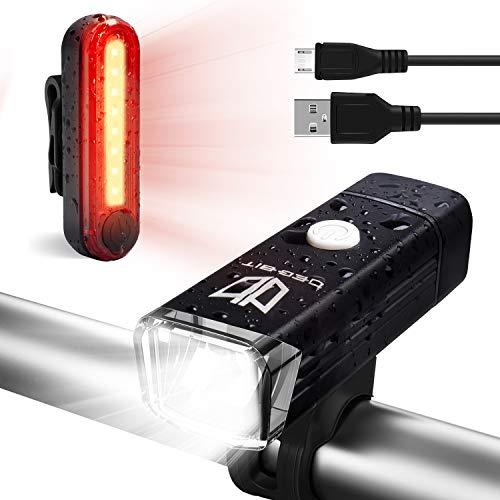 Degbit Bike Light Set Upgraded USB Rechargeable Bicycle Light Mountain Bike Light Water Resistant Led Cycle Lights Rechargeable Easy Mount USB Front Light Headlight Back Tail Light