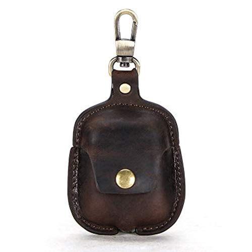 Jkhome Genuine Leather AirPods Case Vintage Portable Protective Cover for AirPods 2 1 with Keychain (Dark Coffee)