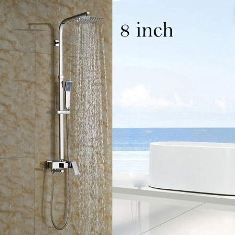 Chrom 8 10 12 Wandmontage im Freien Regen Dusche Wasserhahn Badezimmer Einhand Badewanne Dusche Komplettset Mischbatterien, 8 Zoll Stil