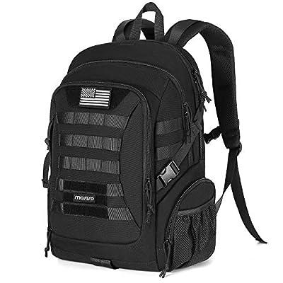 MOSISO Tactical Backpack, 2-Layer Multifuntional Large Molle Rucksack Daypack Adjustable Shoulder Back Pack Bag with Side Bottle Holder/USA Flag for Sport Outdoor Hiking Camping Training, Black