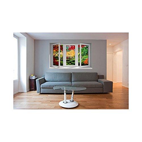 TATOUTEX Adesivi Trompe l' oeil Finestra Il Giardino Esotico, L 150cm x H 90cm