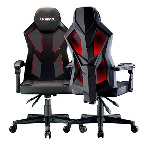 UOMAX LED Gaming Chair Light Computer Chairs with Ergonomic Mesh Back Support. Flatten Widen Seat Cushion Reclining Office Chair, Adjustable PC Gamer Chair with Swivel Rolling(Black Red)