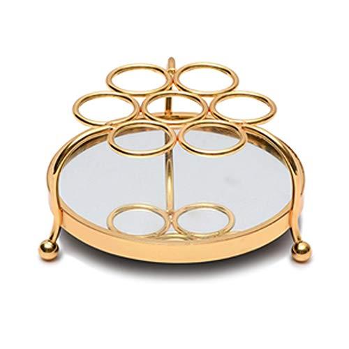 LMJ Estante de la joyería Cosméticos lápiz Labial Estante Producto de Cuidado de la Piel Rack de Almacenamiento Princesa Vestir Escritorio Mesa de Metal Almacenamiento (Color : Gold)